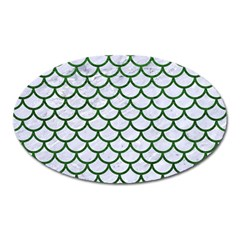 Scales1 White Marble & Green Leather (r) Oval Magnet by trendistuff