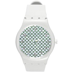 Scales1 White Marble & Green Leather (r) Round Plastic Sport Watch (m) by trendistuff