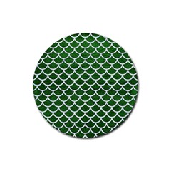 Scales1 White Marble & Green Leather Rubber Coaster (round)  by trendistuff