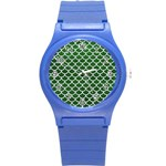 SCALES1 WHITE MARBLE & GREEN LEATHER Round Plastic Sport Watch (S) Front
