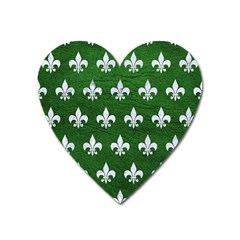 Royal1 White Marble & Green Leather (r) Heart Magnet by trendistuff
