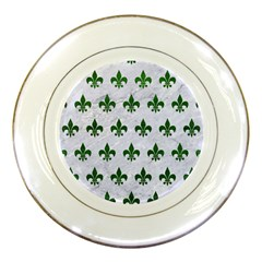 Royal1 White Marble & Green Leather Porcelain Plates by trendistuff