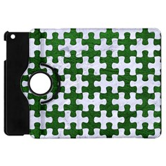 Puzzle1 White Marble & Green Leather Apple Ipad Mini Flip 360 Case by trendistuff