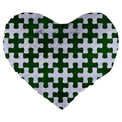 Puzzle1 White Marble & Green Leather Large 19  Premium Heart Shape Cushions