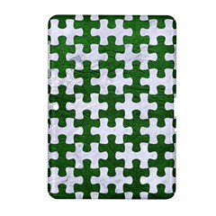 Puzzle1 White Marble & Green Leather Samsung Galaxy Tab 2 (10 1 ) P5100 Hardshell Case  by trendistuff