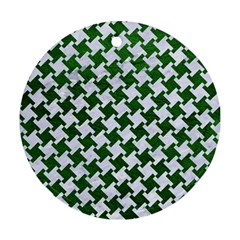 Houndstooth2 White Marble & Green Leather Ornament (round) by trendistuff