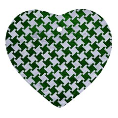 Houndstooth2 White Marble & Green Leather Ornament (heart) by trendistuff