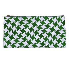 Houndstooth2 White Marble & Green Leather Pencil Cases by trendistuff