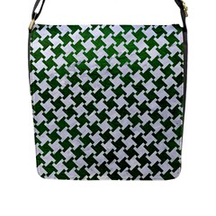 Houndstooth2 White Marble & Green Leather Flap Messenger Bag (l)  by trendistuff
