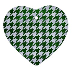 Houndstooth1 White Marble & Green Leather Ornament (heart) by trendistuff