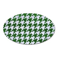 Houndstooth1 White Marble & Green Leather Oval Magnet by trendistuff
