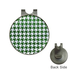 Houndstooth1 White Marble & Green Leather Hat Clips With Golf Markers by trendistuff