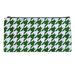 Houndstooth1 White Marble & Green Leather Pencil Cases by trendistuff