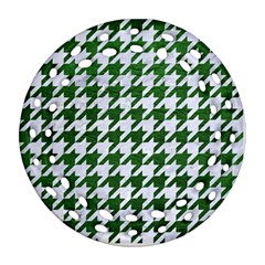Houndstooth1 White Marble & Green Leather Ornament (round Filigree) by trendistuff