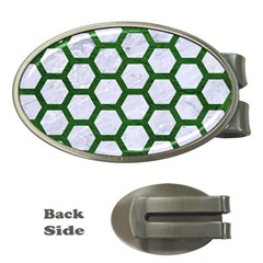 Hexagon2 White Marble & Green Leather (r) Money Clips (oval)