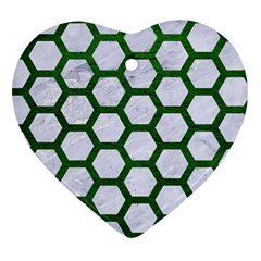 Hexagon2 White Marble & Green Leather (r) Heart Ornament (two Sides) by trendistuff