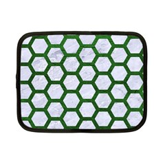 Hexagon2 White Marble & Green Leather (r) Netbook Case (small)  by trendistuff