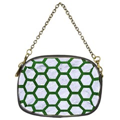 Hexagon2 White Marble & Green Leather (r) Chain Purses (one Side)  by trendistuff