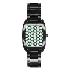 Hexagon2 White Marble & Green Leather (r) Stainless Steel Barrel Watch by trendistuff