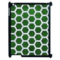 Hexagon2 White Marble & Green Leather Apple Ipad 2 Case (black) by trendistuff