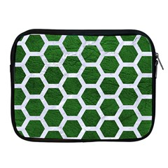 Hexagon2 White Marble & Green Leather Apple Ipad 2/3/4 Zipper Cases by trendistuff