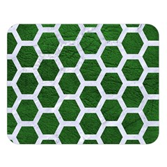 Hexagon2 White Marble & Green Leather Double Sided Flano Blanket (large)  by trendistuff