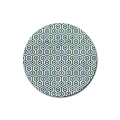 Hexagon1 White Marble & Green Leather (r) Rubber Round Coaster (4 Pack)  by trendistuff