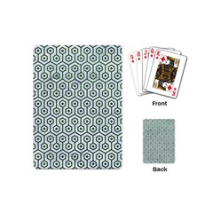 Hexagon1 White Marble & Green Leather (r) Playing Cards (mini)  by trendistuff