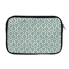 Hexagon1 White Marble & Green Leather (r) Apple Macbook Pro 17  Zipper Case by trendistuff