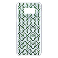 Hexagon1 White Marble & Green Leather (r) Samsung Galaxy S8 Plus White Seamless Case