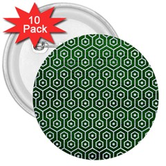 Hexagon1 White Marble & Green Leather 3  Buttons (10 Pack)  by trendistuff