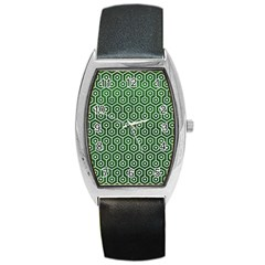 Hexagon1 White Marble & Green Leather Barrel Style Metal Watch by trendistuff