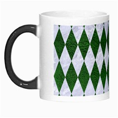 Diamond1 White Marble & Green Leather Morph Mugs by trendistuff