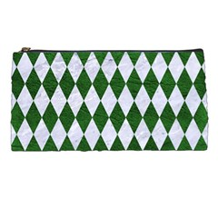 Diamond1 White Marble & Green Leather Pencil Cases by trendistuff