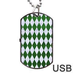 Diamond1 White Marble & Green Leather Dog Tag Usb Flash (two Sides) by trendistuff