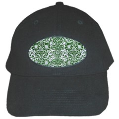 Damask2 White Marble & Green Leather (r) Black Cap