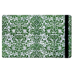 Damask2 White Marble & Green Leather (r) Apple Ipad 2 Flip Case by trendistuff