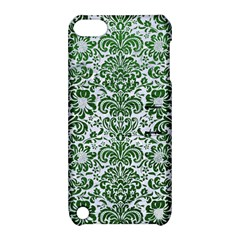 Damask2 White Marble & Green Leather (r) Apple Ipod Touch 5 Hardshell Case With Stand by trendistuff