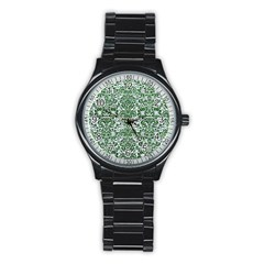 Damask2 White Marble & Green Leather (r) Stainless Steel Round Watch by trendistuff