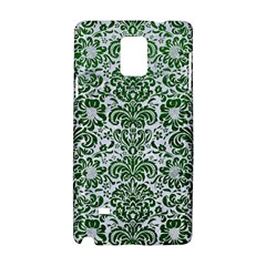 Damask2 White Marble & Green Leather (r) Samsung Galaxy Note 4 Hardshell Case by trendistuff