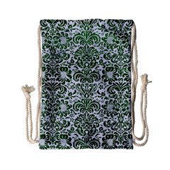 Damask2 White Marble & Green Leather (r) Drawstring Bag (small) by trendistuff