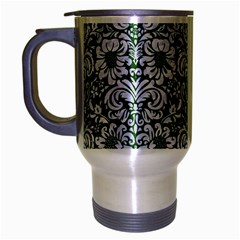 Damask2 White Marble & Green Leather Travel Mug (silver Gray) by trendistuff