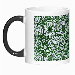 Damask2 White Marble & Green Leather Morph Mugs by trendistuff