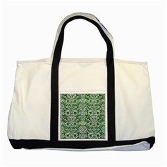 Damask2 White Marble & Green Leather Two Tone Tote Bag