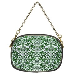 Damask2 White Marble & Green Leather Chain Purses (two Sides)  by trendistuff
