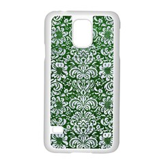 Damask2 White Marble & Green Leather Samsung Galaxy S5 Case (white) by trendistuff
