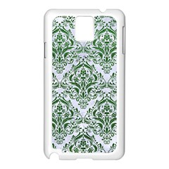 Damask1 White Marble & Green Leather (r) Samsung Galaxy Note 3 N9005 Case (white) by trendistuff