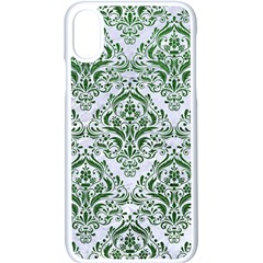 Damask1 White Marble & Green Leather (r) Apple Iphone X Seamless Case (white) by trendistuff