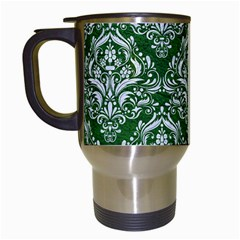 Damask1 White Marble & Green Leather Travel Mugs (white) by trendistuff