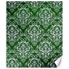 Damask1 White Marble & Green Leather Canvas 20  X 24   by trendistuff